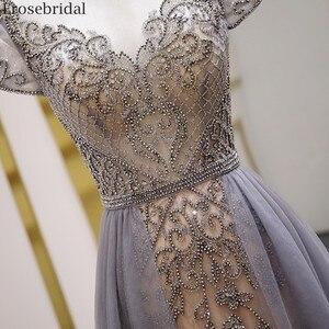 Image 5 - Erosebridal Elegant Short Sleeve Evening Dress 2020 A Line Beads Long Prom Dress O Neck Small Train See Through Back