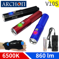 ARCHON V10S LED flashlight diving torch CREE XM L U2 LED chip MAX 860 lm dive flashlight underwater diving flashlight dive light