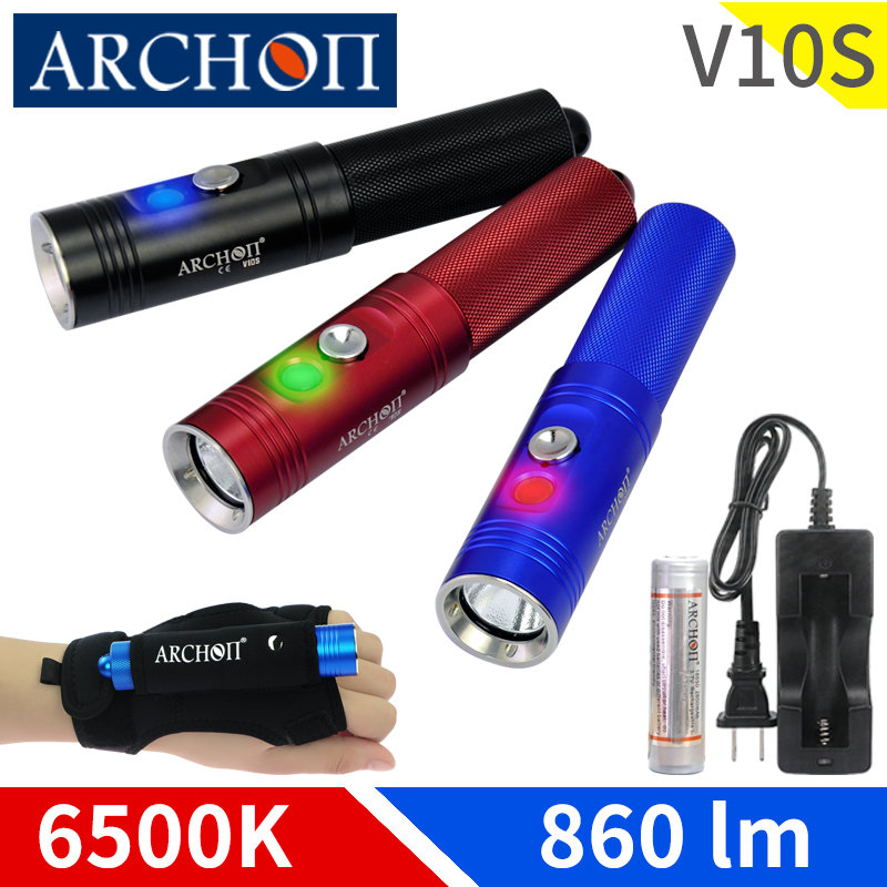 ARCHON V10S LED Flashlight Diving Torch CREE XM-L U2 LED Chip MAX 860 Lm Dive Flashlight Underwater Diving Flashlight Dive Light