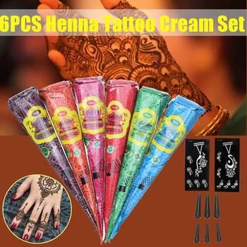 6pcs Henna Indian Henna Tattoo Paste Cone Body Paint Temporary Mehndi Henna Tattoo body art Sticker Mehndi Body Paint фото