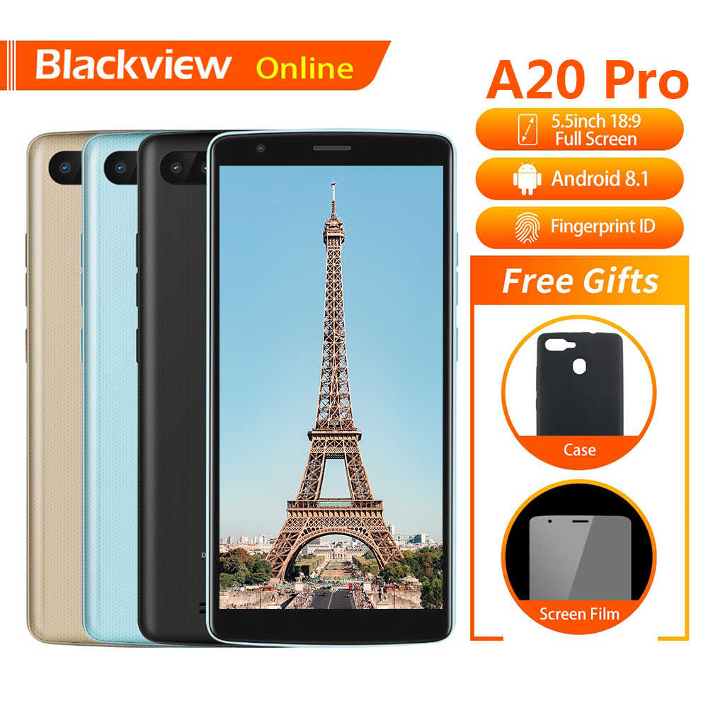 "Blackview A20 Pro Original 5.5 ""téléphone portable 2GB + 16GB Quad-Core Android 8.1 empreinte digitale 18:9 écran Full HD 4G mode Smartphone"