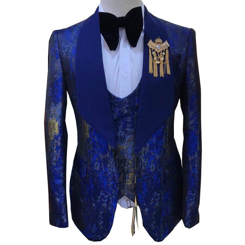Men suits Autumn High quality Brand Fashion Print Design Boutique Groom Casual Slim fit 3pcs set Wedding party Dress prom Tuxedo