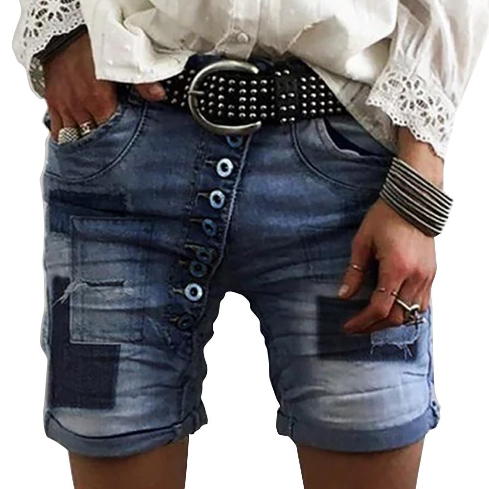 Adisputent Summer Denim Shorts Solid Vintage Wide Leg High Waist Female Loose Women's Summer Knee Length Stretch Short Jeans