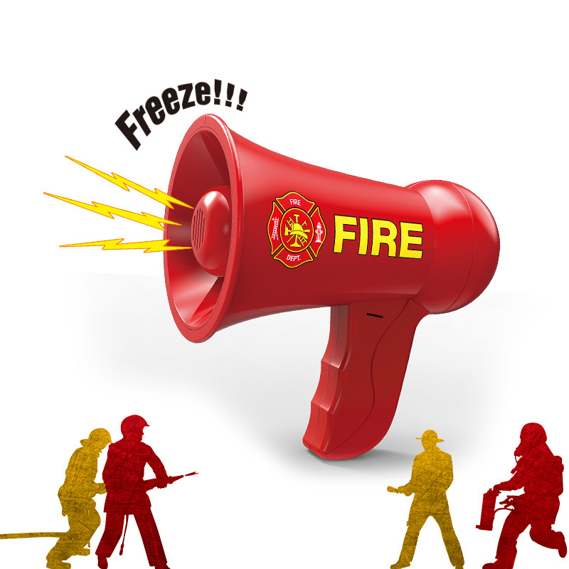 Kids Pretend Play Firemen Toys Megaphone Horn Freeze Tool Children Role Cosplay Police Toys Outdoor Parent-child Game TY0401