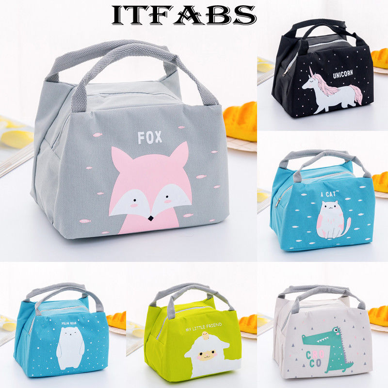 Hot Selling 6 Patterns Women Kids Lunchbox Bag Portable Oxford Lunch Bag Thermal Insulated Lunch Box Food Picnic Lunch Bags