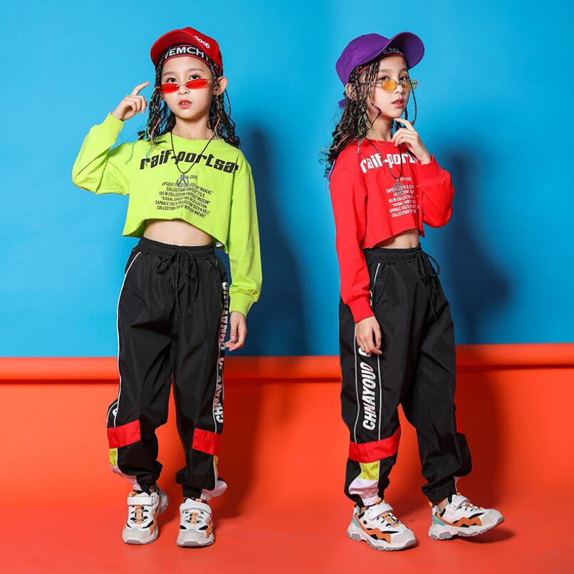 For 8 10 12 14 16 Years Children Hip Hop Crop T Shirt Sweatshirt Tops Casual Pants For Girls Dancing  Costume Ballroom Clothes