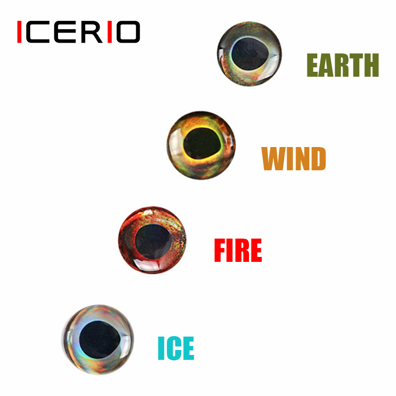 ICERIO 50PCS Holographic 3D 4D Epoxy Fish Eyes For Fly Tying Streamers Fishing Lures Wood Plastic Lure Making