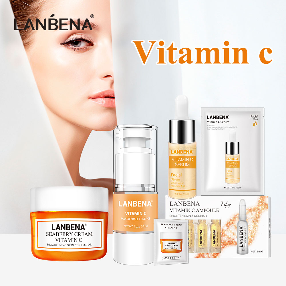 LANBENA Skin Care Vitamin C Series Face Mask 25ml Whitening Seaberry Facial Cream Makeup Base Primer Serum 7 Day Ampoule Essence