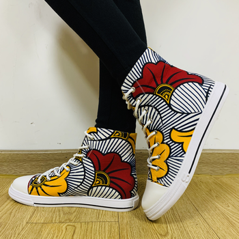 Shenbolen Women canvas shoe ankara print  women fashion party shoes african