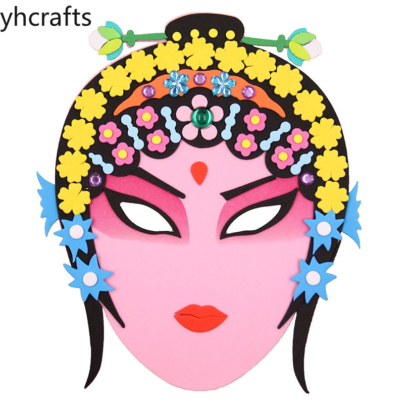 3PCS/Lot DIY Beijing Opera Foam Craft Kits Facial Makeup Chinese Opera Mask Kindergarten Creative EVA Adhesive Hand-made Crafts