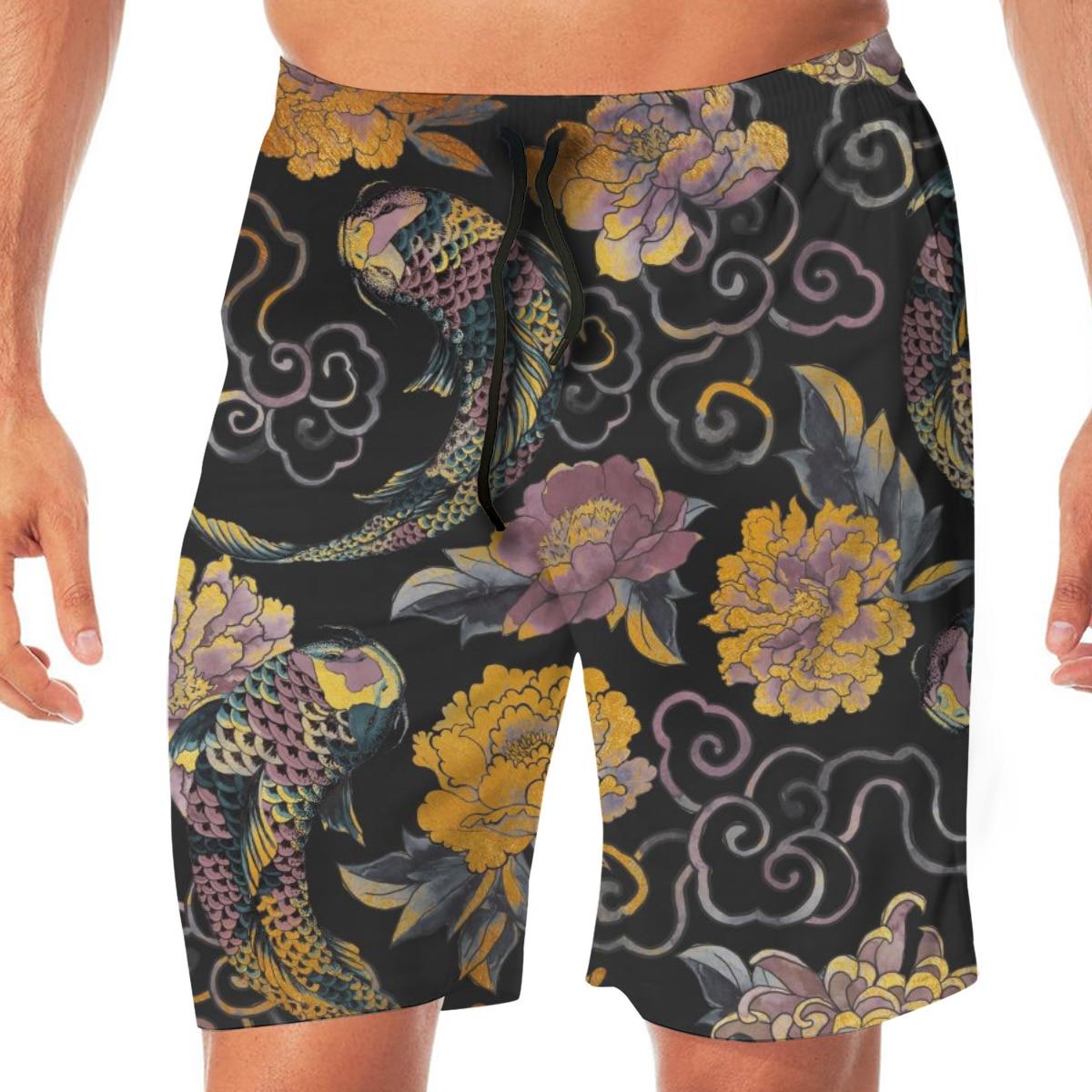 Men Casual Summer Hawaiian Beach Pants Half Trousers Japanese Asian Flowers And Koi