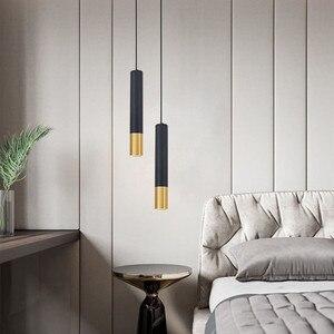 Image 5 - Montowane na powierzchni lampa wisząca Tube wisiorek światło nowoczesne kreatywne czarne złoto długi Bar restauracja kawiarnia biuro wisiorek światło