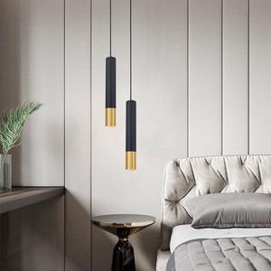 Image 5 - Superfície montado pendurado fio tubo luz pingente moderno criativo preto ouro longo bar restaurante café escritório luz pingente