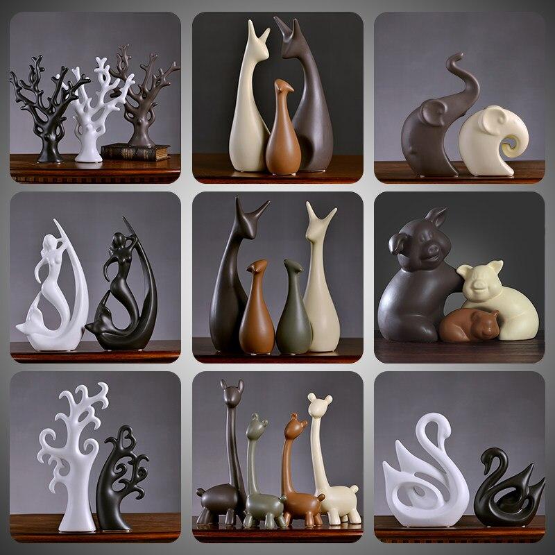 โมเดิร์นเซรามิคสัตว์ Figurines งานฝีมือ Swan Deer เครื่องประดับหน้าแรกห้องรับแขกตกแต่งตกแต่งสำนักงาน...
