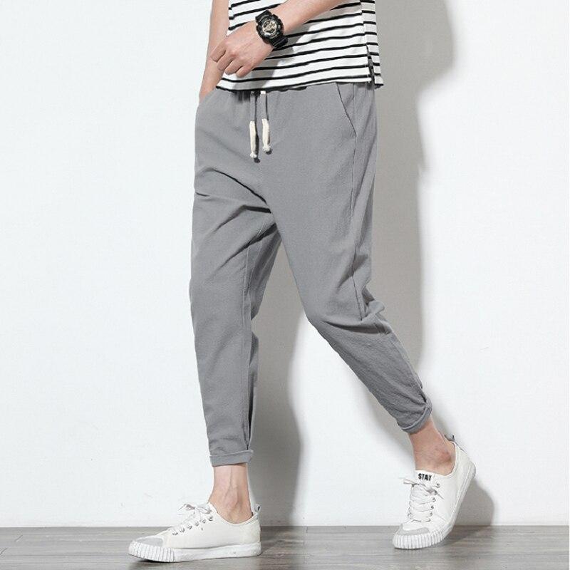 Summer 2019 men's linen cargo pants hip hop and ankle men's pencil pants monochrome breathable comfortable stylish linen pants