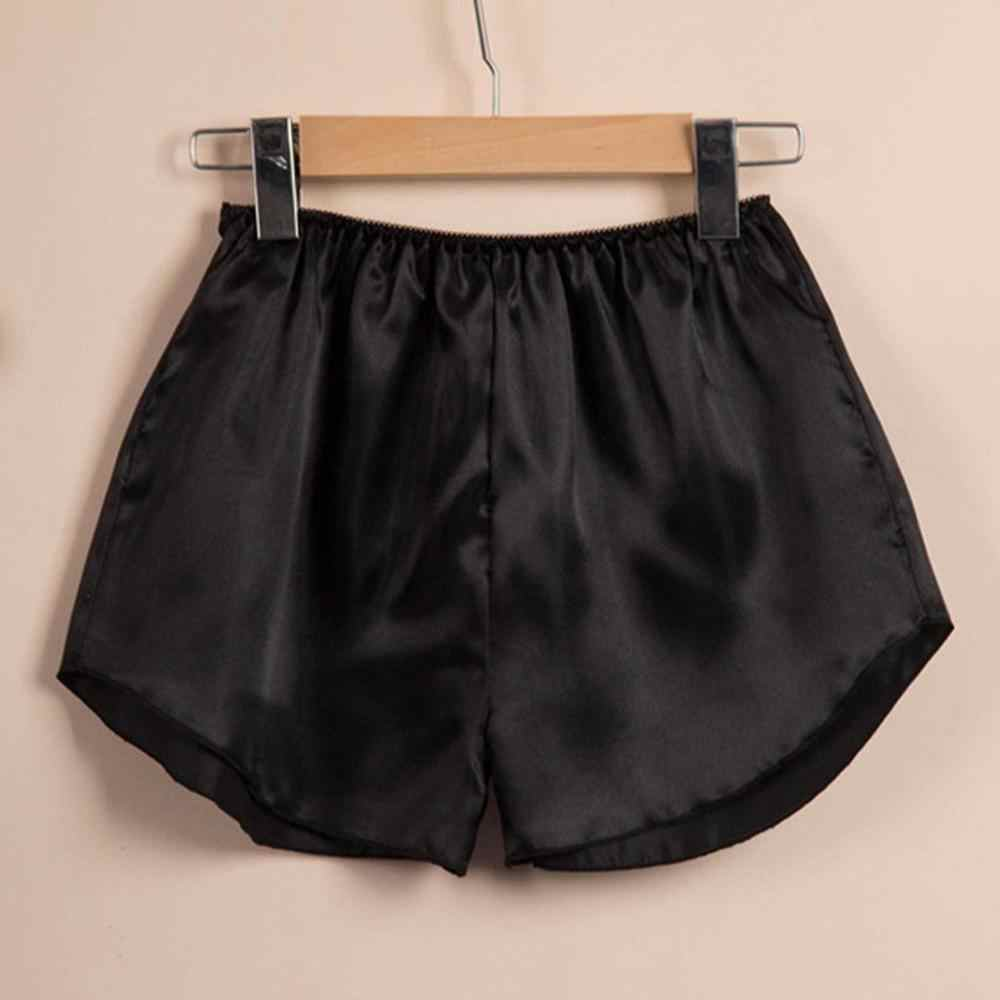 Śliczne kobiety satynowa spodnie i spódnice elastyczny pas jedwabne spodenki kobiece na co dzień majtki spodnie od piżamy seksowna piżama Plus rozmiar różowy