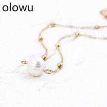 Женское колье ожерелье из пресноводного жемчуга ожерелье золотого цвета цепь ключицы ожерелья цепи модные ювелирные изделия для девушек