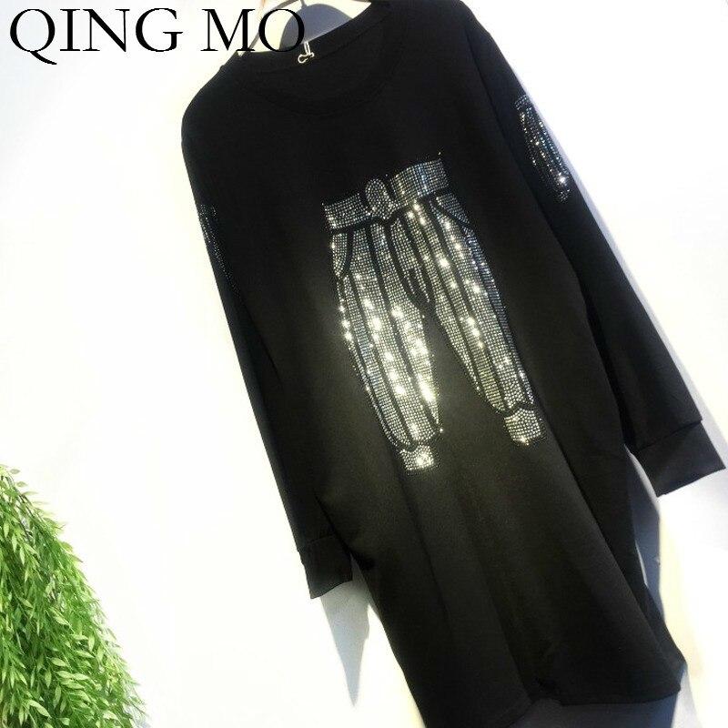 QING MO Women Pant Print Dress With Rhinestone Women Autumn Elegant Dress Black Tshirt Dress High Quality ZQY1569
