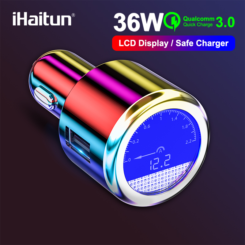iHaitun Luxury LCD 36W USB <font><b>Car</b></font> <font><b>Charger</b></font> For Samsung Quick Charge 3.0 QC <font><b>QC3.0</b></font> Fast USB For iPhone Xiaomi Redmi K20 Note 7 OnePlus image
