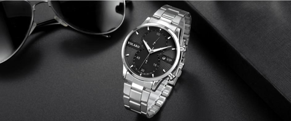 Мужские часы роскошные бизнес из нержавеющей стали кварцевые
