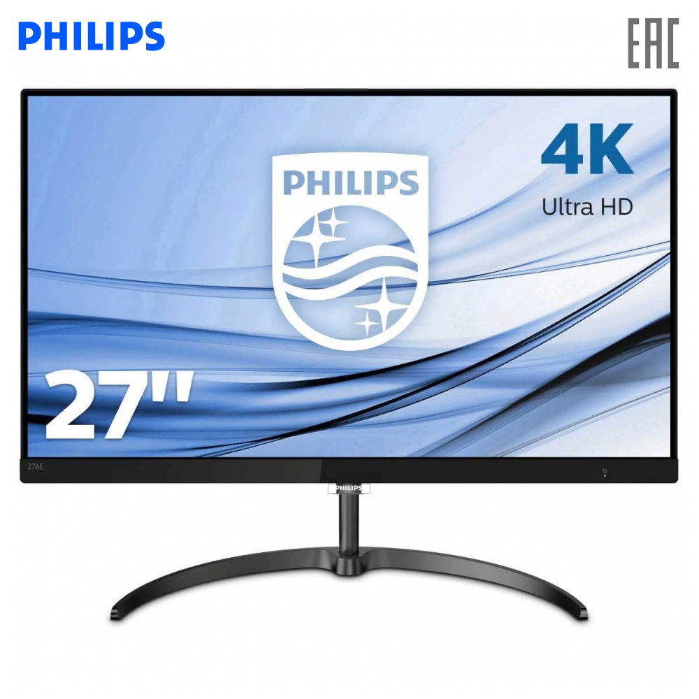 Монитор Philips 276E8VJSB (00/01)  27'' (UHD 4K) IPS,GLARE, 350cd|m2, 1000:1,20M:1, 1.07B, VGA,2xHDMI,DP,Black