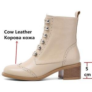 Image 3 - FEDONAS kadınlar klasik kare ayak yarım çizmeler kış sıcak hakiki deri Brogue çizmeler parti rahat ayakkabılar kadın yeni yüksek topuklu