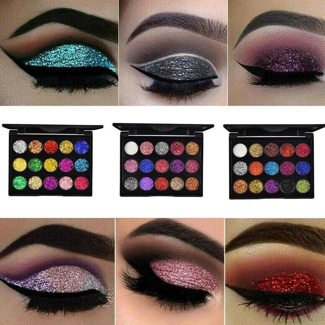 15 Colors Glitter Eyeshadow Makeup Pallete Matte Eye Shadow Palette Shine Diamond Eyeshadow Powder Pigment Kit 3