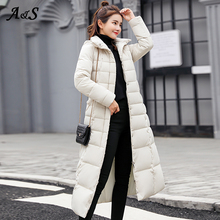 Down Coat women Long Fur Collar Jacket Women Winter with Hoo