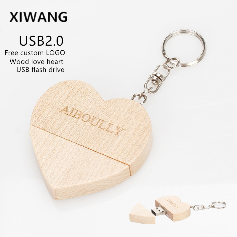 Wood Love Heart Usb Memory Disk Usb 2.0 4GB 8GB 16GB Pen Drive 32GB 64GB 128gb Usb Flash Drive Pendrive Custom LOGO Wedding Gift