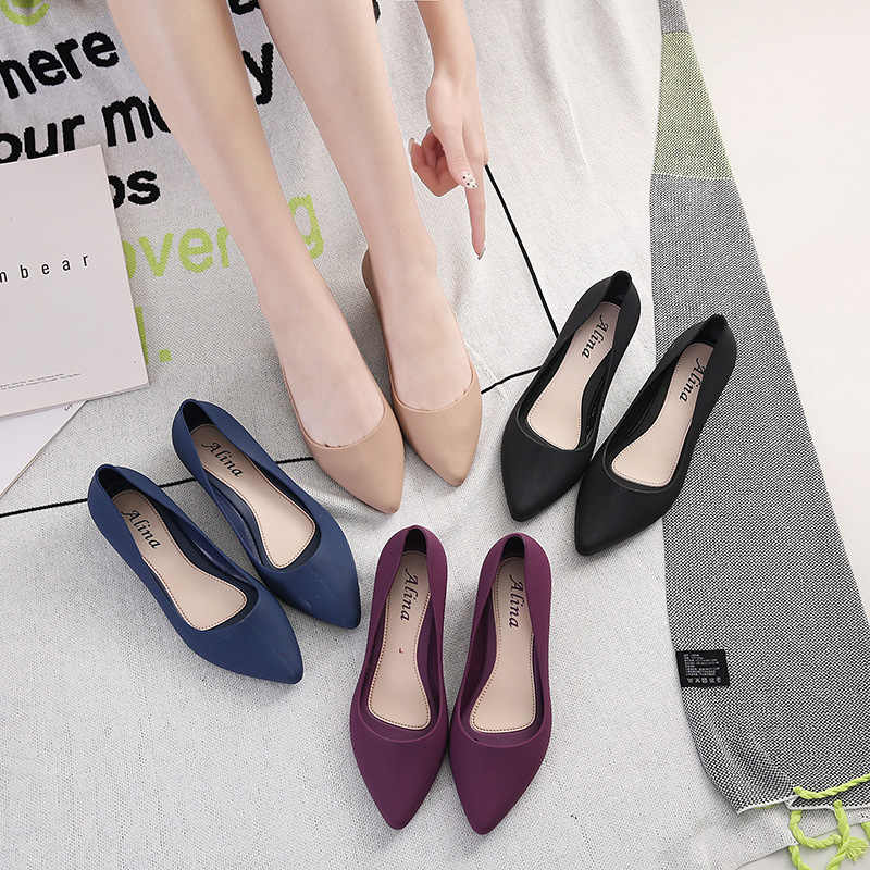Pointed single shoes female wedge with soft bottom professional work shoes waterproof shallow mouth sandals