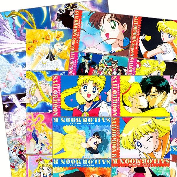 16pcs Cartoon Sailor Moon Vintage Stickers Crafts Scrapbooking Stickers Book Student Label Decorative Sticker DIY Stationery