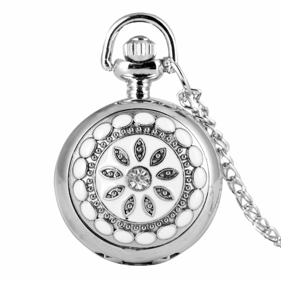 Fashion Silver Flower Quartz Pocket Watch Necklace Pendant Women Lady GIft P205