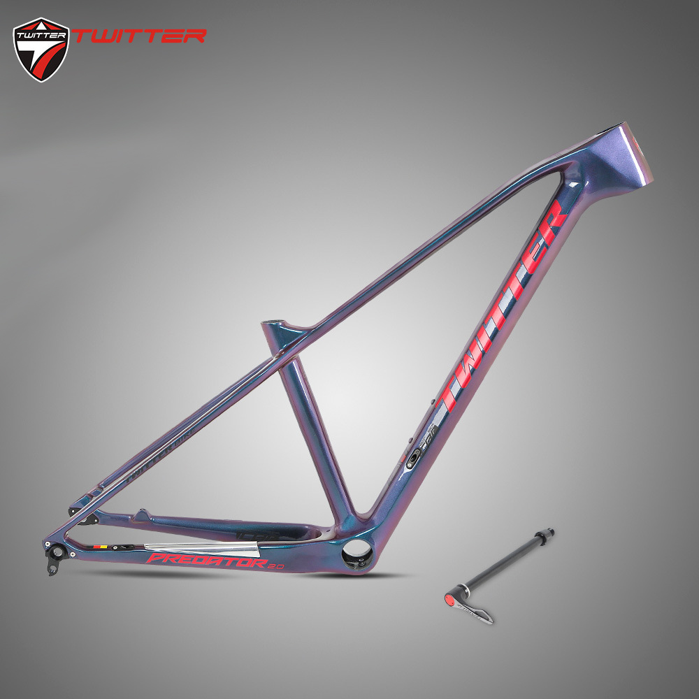 New Come MTB Predator-cut148 XC Carbon T1000 Frame Mountain Bicycle Racing Boost Carbon Fibre Frame Discolor Thru Axle 12*148mm