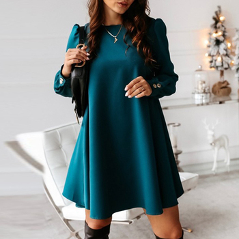 Women Long Sleeve Single-breasted Mini Dress Spring Autumn O-neck Metal Buttons Party Dress Elegant Solid Plus Size A-Line Dress 2