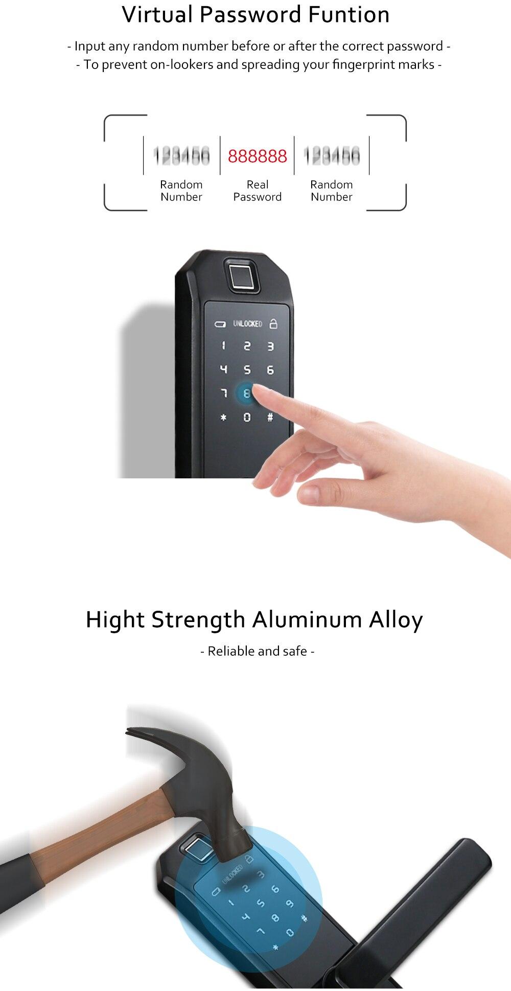 H745c6ec44d5b40afb793f971a6063f99V WIFI Smart Fingerprint Door Lock Code Card Key Touch Screen Digital Password Lock Electronic Door Lock with Tuya Smart APP