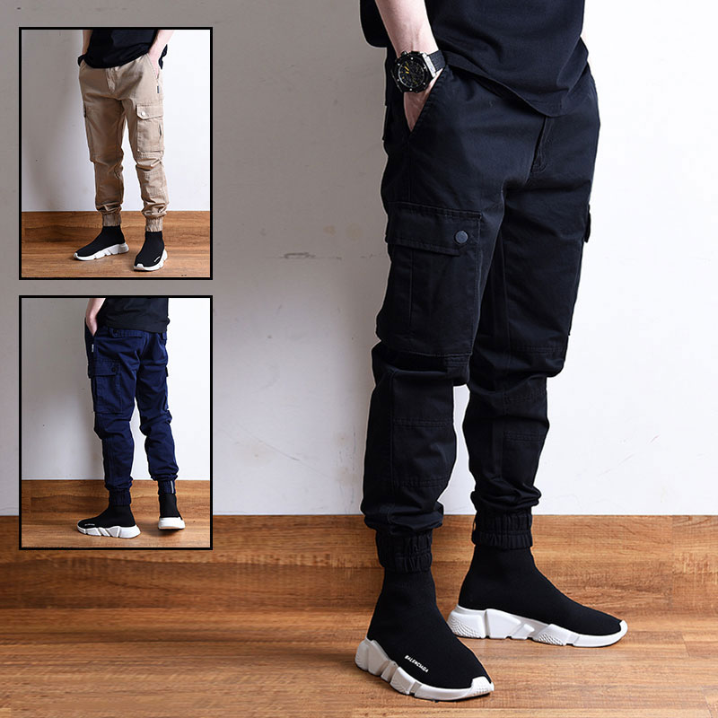 Fashion Streetwear Men Jeans Loose Fit Big Pocket Casual Cargo Pants Japanese Style High Quality Hip Hop Joggers Pants Men
