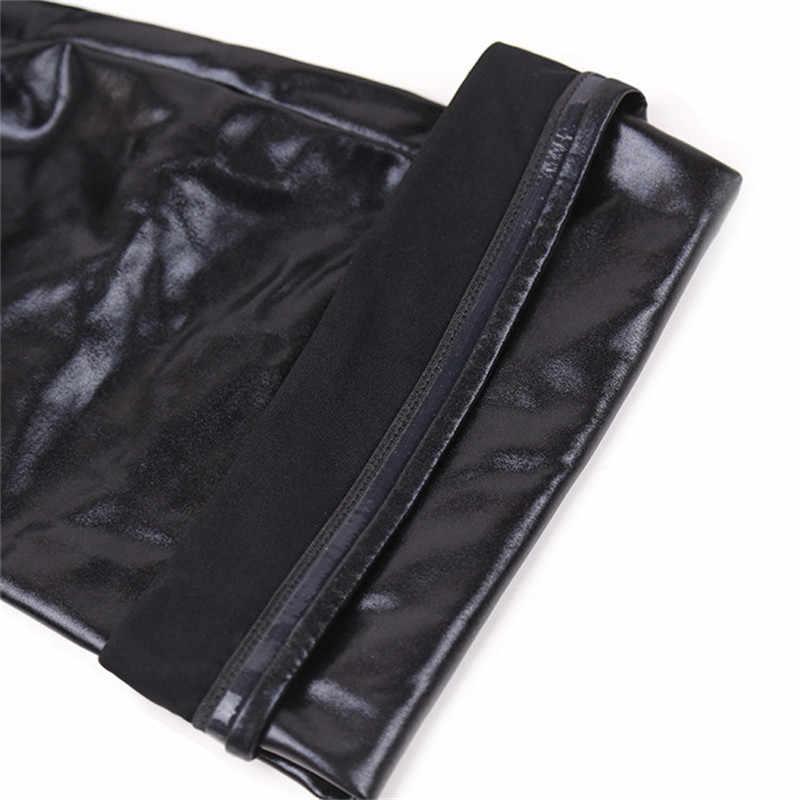 S-2XL كبيرة حجم الجلد الأسود جوارب القطب الرقص مثير الأوساط سيليكون الفرقة الركبة عالية جوارب مثير الملابس الداخلية اللاتكس Clubwear