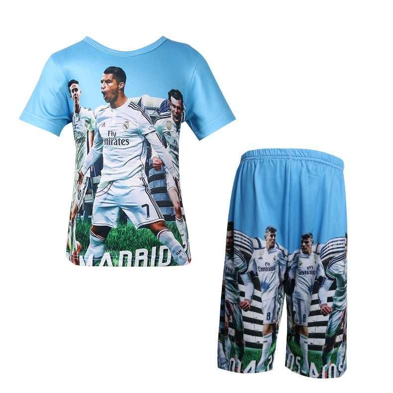 Baby jungen t shirt set Wettbewerb team uniform Echt Fußball star t-shirt 3D Madrid C Ronaldo cartoon Kinder kurze hose kleidung