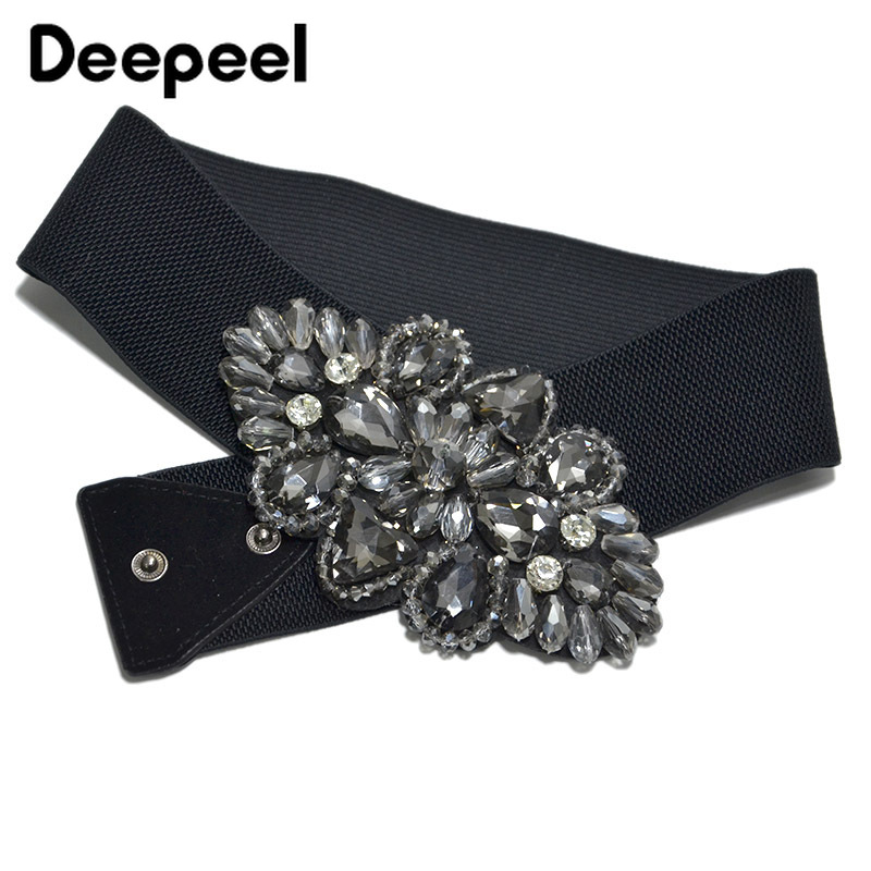 Deepeel 1pc 6*68cm Fashion Sweet Flower Elastic Band Cummerbunds Women's Wide Belt Inlaid With Rhinestones Crystal Beaded CB053
