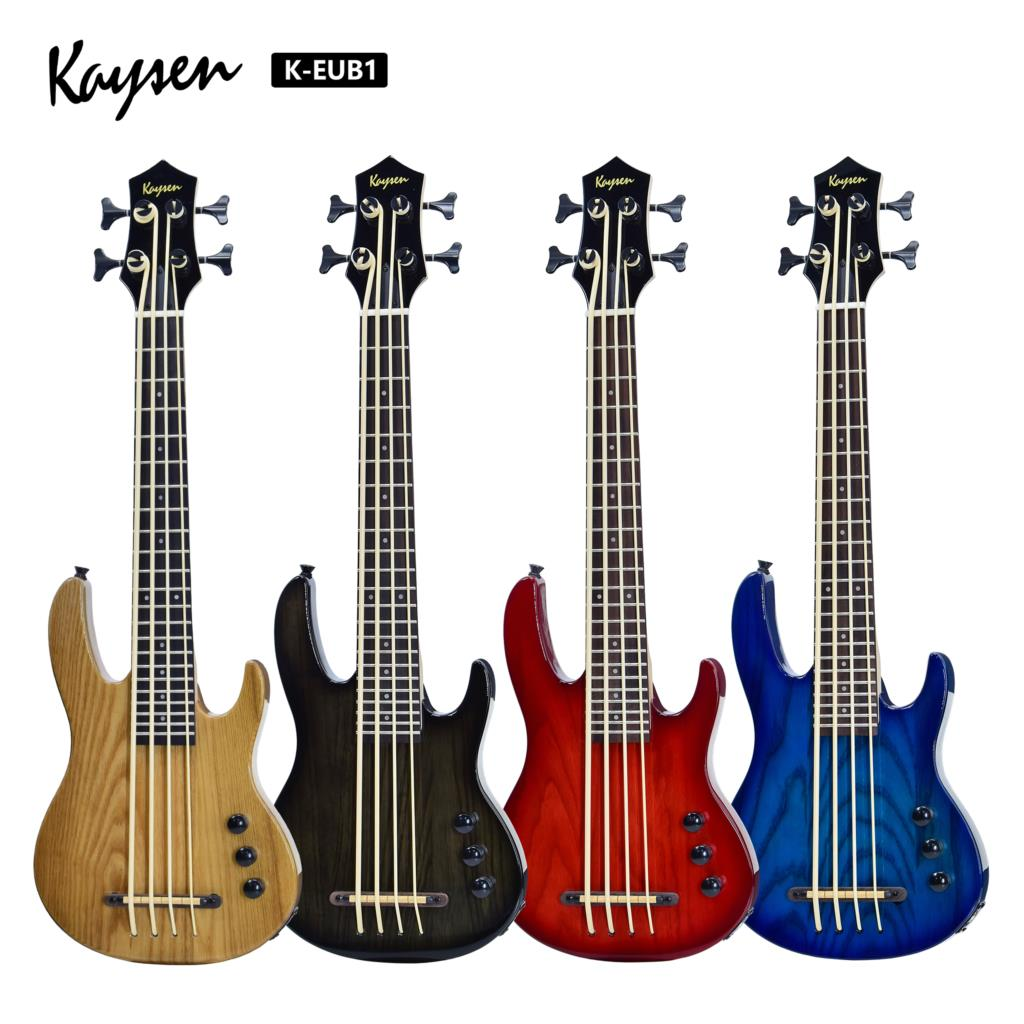 Electric Ubass Ukulele Bass 30 Inches All Solid Nylon 4 Strings Ash Wood Black Gary Red Blue Initiative Adapterization Pick Up