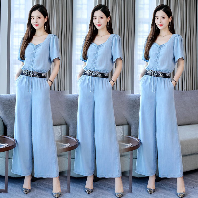 Solid Color Elegant Set 2019 Summer New Style Versatile Simple Slim Fit High-waisted Slimming