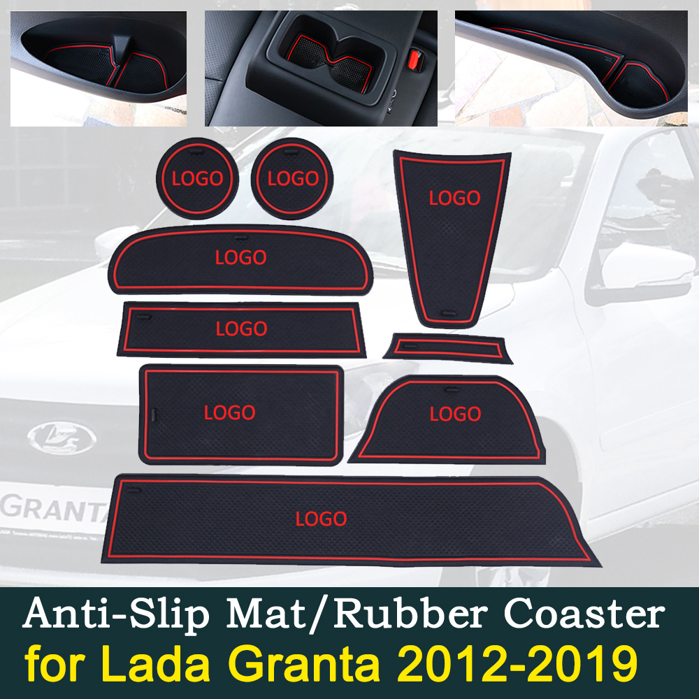 Anti-slip Car Door Rubber Cup Cushion For Lada Granta 2012~2019 2013 2014 2015 2016 2017 2018 Groove Mat Best Car Accessories