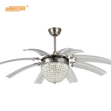 48 дюймов Хрустальные потолочные вентиляторы с лампами украшения