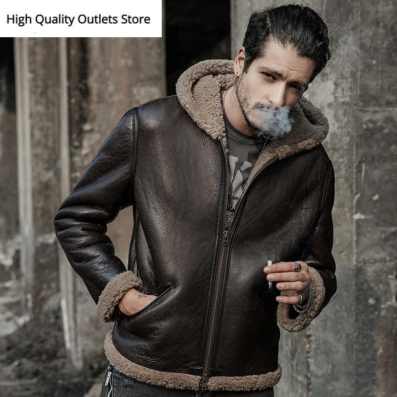 Men Genuine Leather Jacket Real Shearling Original Ecology Sheepskin Coat Fur Coats Outerwear Short Design Original Ecologiacal