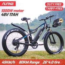 ALFINA FX-03plus 1000W estupendo motor 48V 17AH bicicleta eléctrica SnowBike MTB 45 KM/h 26 pulgadas neumáticos impermeable Ebike