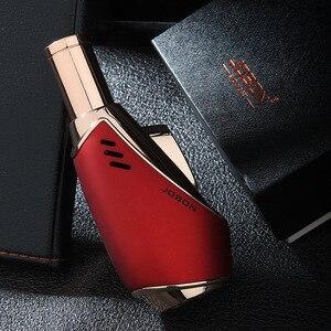 Encendedor de cigarro a prueba de viento MetalMetal 3 llama azul azabache encendedores de cigarrillos con caja de regalo para hombres CL009