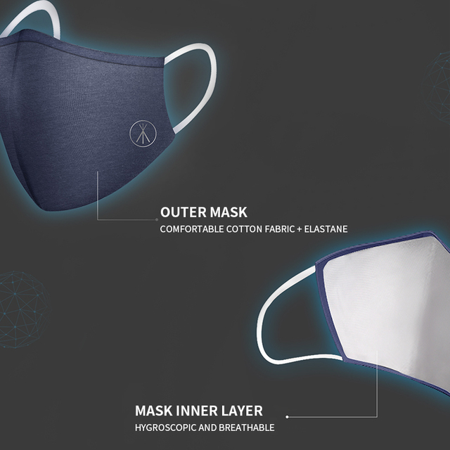 2PCS Cotton Dustproof Mask Activated Carbon Filter Windproof And Flu Mask Equivalent With 10 Filters Health 5