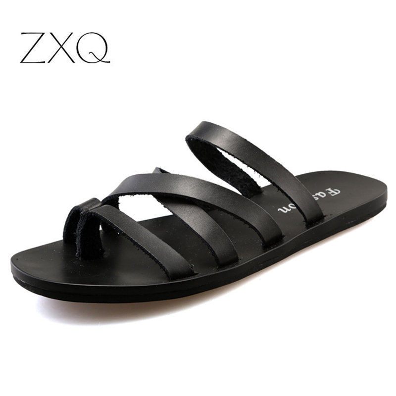 Flat With Beach Fashion Outside Men's Slippers Leisure Concise Genuine Leather Summer Flip Flops Sewing Solid Men Shoes