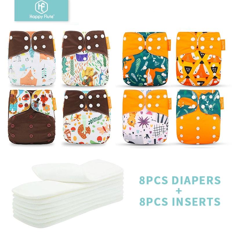 HappyFlute 8 pañales + 8 insertos pañales de tela para bebés talla única pañal reutilizable ropa lavable ajustable para niñas y niños