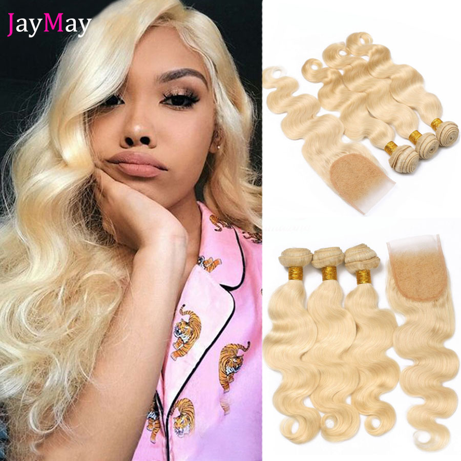 JayMay 613 Blonde Bundles with Closure 브라질 바디 웨이브 헤어 번들, 투명 레이스 5x5 Closure with Bundles image